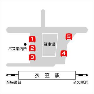地図:JR横須賀線「衣笠駅」からお越しの場合